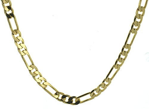"""20"""" Inch Long Yellow Gold Tone Figaro Chain Necklace"""