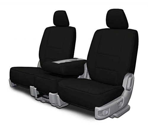 Custom Fit Seat Covers for Chevrolet El Camino Front 60-40 Split Bench - Black Leatherette Fabric