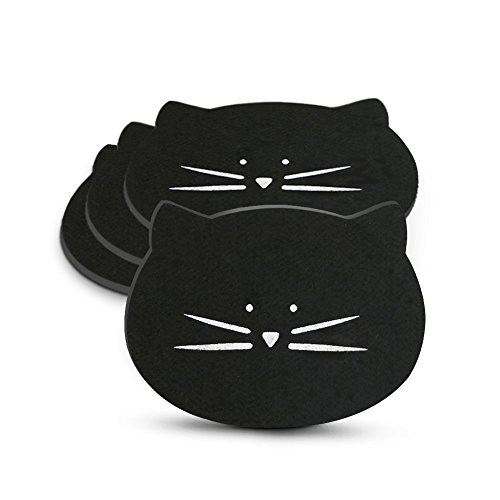Koolkatkoo Drink Absorbent Cat Mug Coaster Set for Women Girls, Felt Material Personalized and Cute Coffee Cup Coasters for Cat Lovers Set of 4 Black