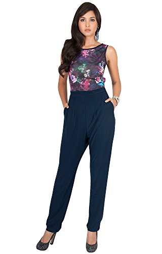 KOH KOH Petite Womens Long Sleeveless Casual Sexy Floral Print Party Pockets Summer Work Jumpsuit Jumpsuits Romper Rompers Playsuit Pantsuit Pant Suits Pants Suit, Pink and Blue S 4-6 by KOH KOH