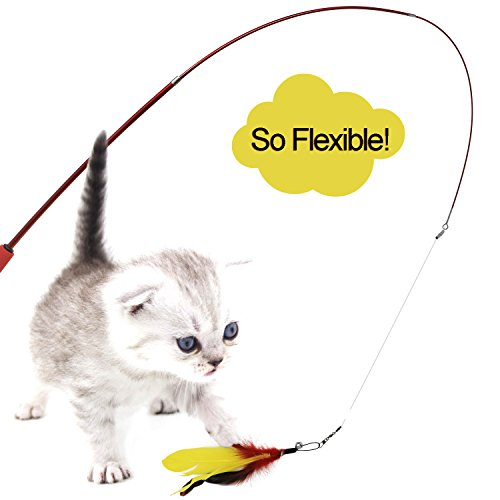 Bascolor retractable cat toys interactive feather teaser for Retractable cat wand