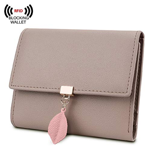 for Women RFID Blocking Genuine Leather Leaf Pendant Snap Card Holder Organizer Girls Zipper Coin Purse ()