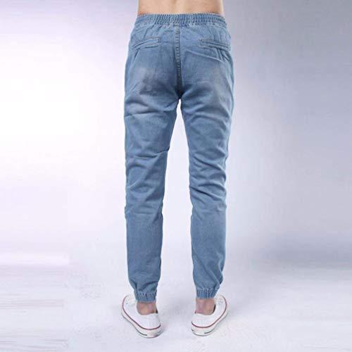 Ragazzi Da Casual Pantaloni Vintage Stretti Cordino Denim Polsini Uomo Classiche Elasticizzati Lichtblau E Jeans Con Party Comfy STqABff
