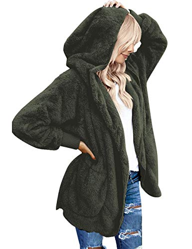 Vetinee Women's Casual Draped Open Front Hooded Cardigan Pockets Oversized Coat Dark Green Size Large (fits US 12-US 14)