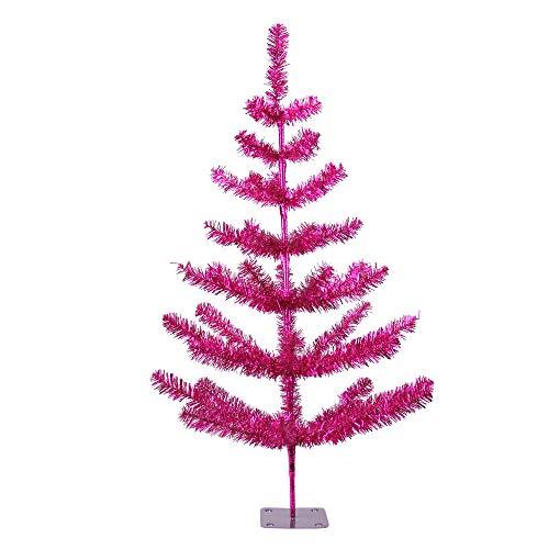 Northlight 3' Fuchsia Pink Tinsel Pine Artificial Christmas Twig Tree - Unlit