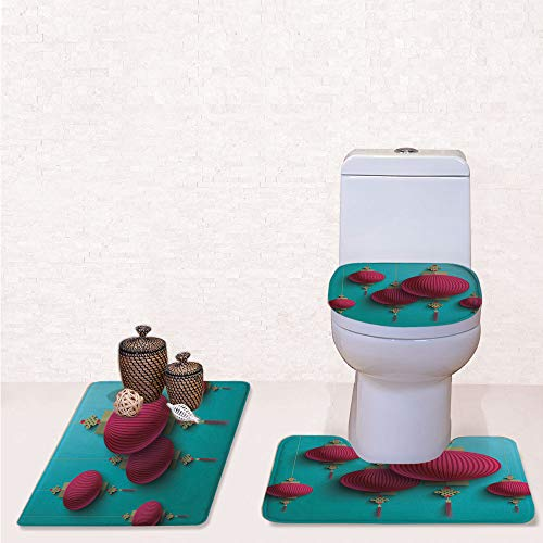 3 Piece Soft Bathroom Rug Set Includes Bath Mat, Contour Rug ,Lid Cover,Chuseok Chinese New Year Traditional Celebration Asian Mid Autumn Festival Decorative with Sky Blue Dark Coral,decorate bathroo