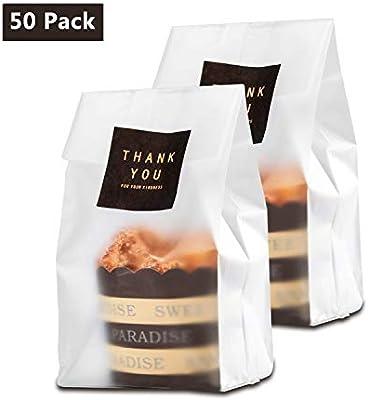 MJ: 50 bolsas de galletas traslúcidas planas de celofán para tartas, chocolate, galletas, velas, envolver aperitivos, ideal para fiestas de pastelería ...