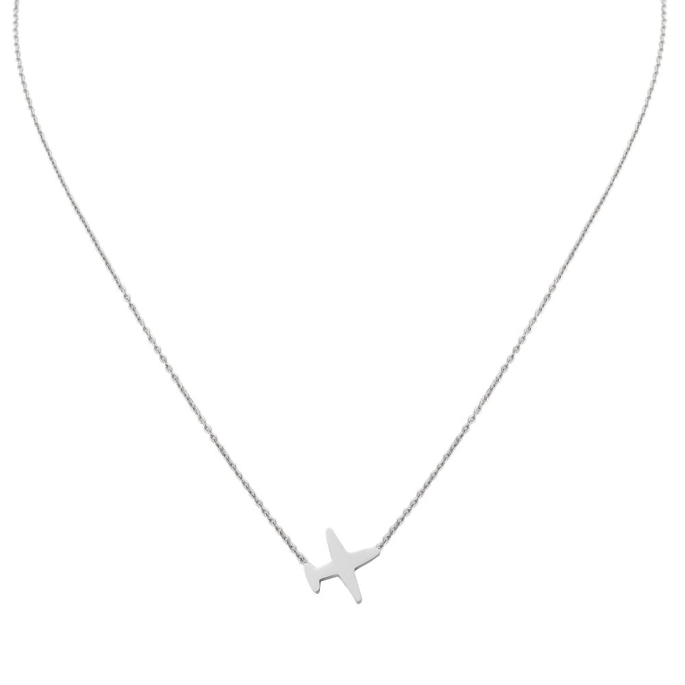 Women Plane Chain Necklace. Tiny Silver Tone Stainless Steel Gift Box Travel Symbol Charm Pendant Jewelry by Traveller Treasures (Image #2)