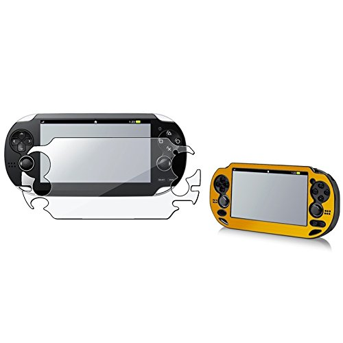 eForCity® Gold Aluminum / Plastic Case with FREE Reusable Screen Protector Compatible With Sony Playstation Vita