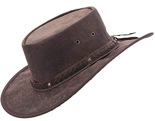 Real Australian Leather Hat Original Hat-in-a-Bag Direct from Australia Brown (Medium)