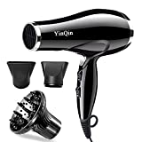 YinQin 1875W Professional Hair Dryer 2 Speed 3 Heat Settings Fast Dry Tourmaline Ceramic Ionic Blow Dryer Performance AC Motor with Concentrator, Diffuser (Black) Review
