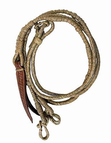 Braided Natural Rawhide Romal Reins with Leather Popper (Romal Reins)