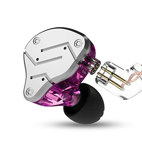 KZ ZSN in Ear Earphone 1BA 1DD Stereo High Fidelity Earphone, KZ Earbuds High Resolution in Ear Monitor Headphone with Detachable 0.75mm 2 pin Cable (Purple, NO Mic)