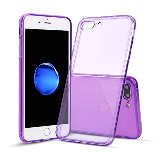 Shamo's Case for iPhone 7 Plus and iPhone 8 Plus Shock Absorption TPU Rubber Gel Transparent with Smudge-Free Technology, Soft Cover - Case Plastic Purple