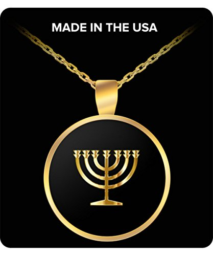 Jewish Necklace - Gold Chain Pendant - Menorah Lamp Charm