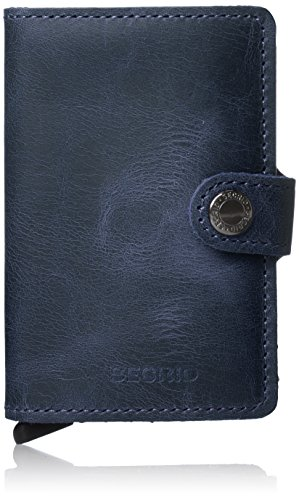 Leather 12 Blue for Case Genuine Mini RFID Men Wallet Secrid max cards Vintage Safe Card f7TqZIxn