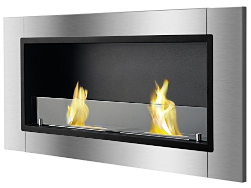 Ignis Lata Recessed Ventless Ethanol Fireplace with (Best Ethanol Fireplace With Glasses)