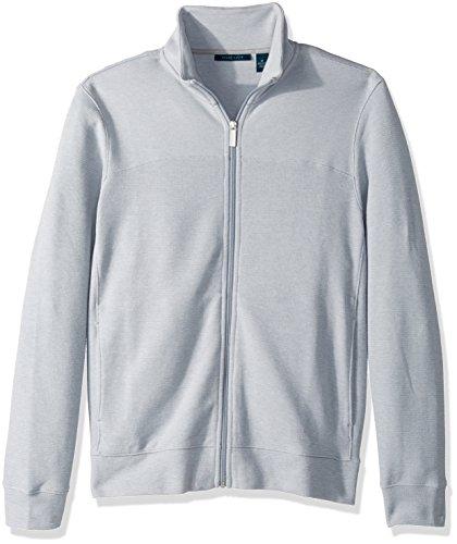 Perry Ellis Men's Cotton Blend Full Zip Texture Knit Jacket, Alloy Heather-4CHK7101, Large - Jacquard Zip Cardigan