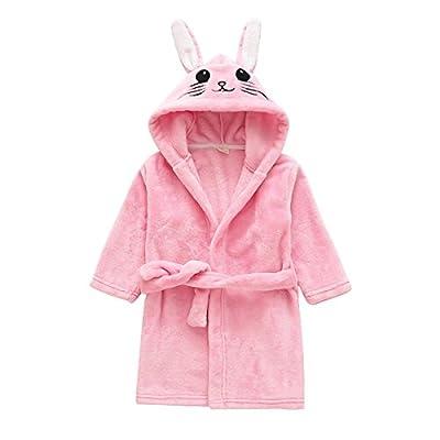 Girls & Boys Bathrobes Kids Fleece Hooded Robe Toddlers Animal Pajamas Sleepwear