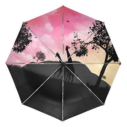 Giraffe Savannah Pink Sky Sun&Rain Automatic Umbrella Windproof Travel UV