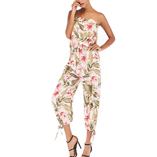 - NEARTIME Women Jumpsuit-Summer Fashion Off Shoulder Printed Playsuit Word Collar Backless Cropped Trousers Clubwear