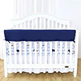 TILLYOU 1-Pack Padded Baby Crib Rail Cover Protector Safe Teething Guard Wrap for Long Front Crib Rails(Measuring Up to 18'' Around), 100% Silky Soft Microfiber Polyester, Reversible, Navy/Pale Gray