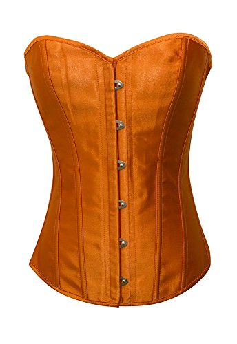(Chicastic Orange Satin Sexy Strong Boned Corset Lace Up Overbust Bustier Bodyshaper Top -)
