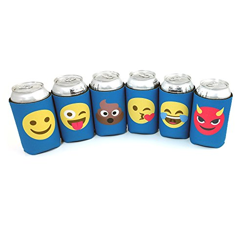 Beer Can Sleeves, Emoji Insulators for Cans and Bottles, 6 pack of Collapsible Double Sided Coolies (Magnetic Fireplace Cover compare prices)