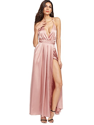 SheIn Women's Sexy Satin Deep V Neck Backless Maxi Party Evening Dress Pink# X-Small
