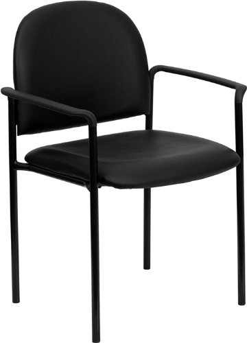 - Flash Furniture Comfort Black Vinyl Stackable Steel Side Reception Chair with Arms