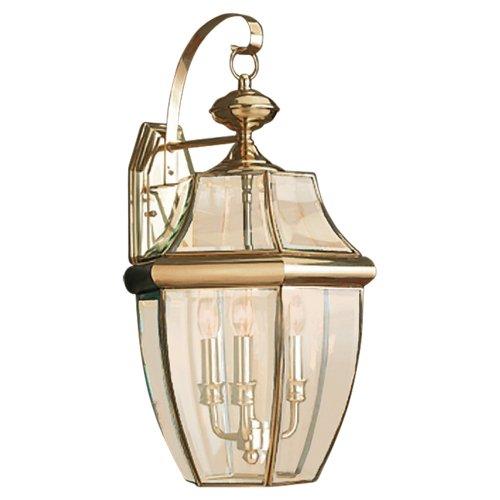 Sea Gull Lighting 8040-02 3-Light Lancaster Medium Outdoor Wall Lantern, Clear Beveled Glass and Polished Brass