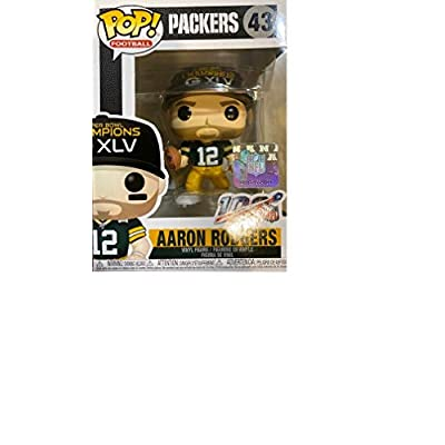 Pop Sports NFL Aaron Rodgers Green Bay Packers SB XLV Champions Pop Vinyl Figure (Bundled with Pop Shield Protector): Toys & Games