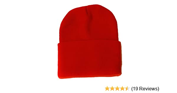 2f1616396fe Blank Long Cuff Beanie - Red at Amazon Men s Clothing store  Skull Caps