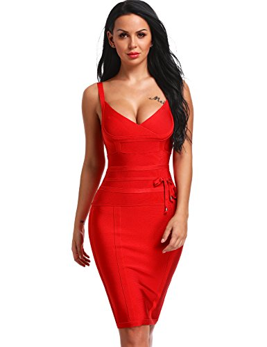 Hego Women's Bandage Dress Spaghetti Strap New Sexy Party Dresses With Belt H4369-1 (M, Red)