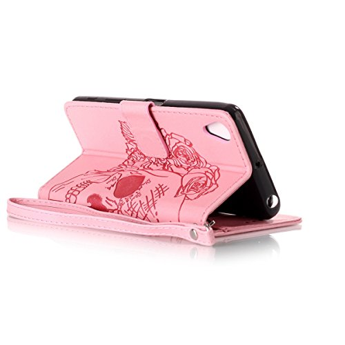 Funda Sony X Performance, Carcasa Plegable para Sony X Performance, Lifetrut Sólido Shiny Sparkle libro de estilo funda de cuero con ranura para tarjetas de cierre magnético soporte funda de teléfono  E203-Cráneo en rosa