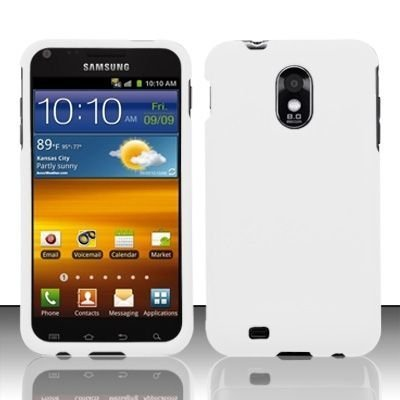 Samsung Epic Touch 4G 4-G D710 D-710 / Galaxy S2 S-2 White Rubber Feel Snap-On Hard Protective Cover Case Cell Phone (for sprint phone only)