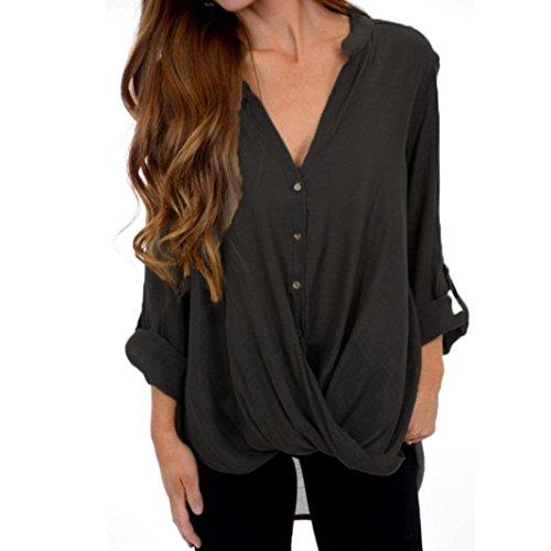 iQKA Women Plus Size Solid Blouse Roll-up Long Sleeve Irregular Shirt Loose Fall ()