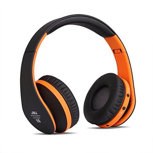 JBU Bluetooth Headphones JBT-900 Foldable Bluetooth 4.0 Wireless Headphones with Microphones Passive Noise Isolation Headset for Travel, Work, Sport ,Gaming, TV, Sports,Mega Bass (Orage)