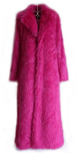 Women's Winter Outerwear Lapel Long Maxi Faux Fur Coat Purple]()