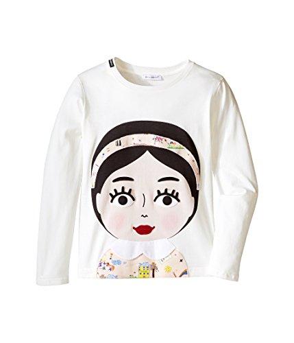 Dolce & Gabbana Kids Girls' Back To School Bimba Mora T-Shirt (Little Kids), White Print, 2T Toddler by Dolce & Gabbana