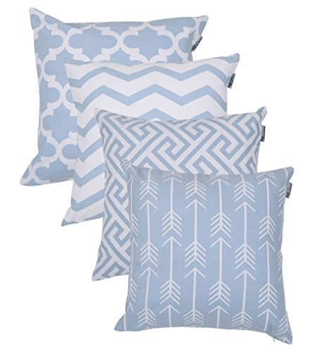 ACCENTHOME Square Printed Cotton Cushion Cover,Throw Pillow Case, Slipover Pillowslip for Home Sofa Couch Chair Back Seat,4pc Pack 18x18 in Pearl Blue - Square Inch Accent 18 Pillow
