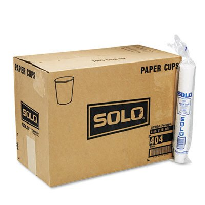 SOLO Cup Company 404CT White Paper Water Cups 4oz 100/Bag 50 Bags/Carton