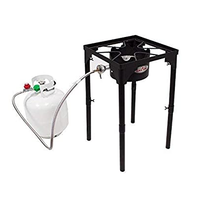 GasOne Portable Propane 100,000-BTU High Pressure Single Burner Camp Stove & Steel Braided Regulator with Adjustable Legs Perfect for Brewing, Boiling Sap & Maple Syrup Prep by Gas One