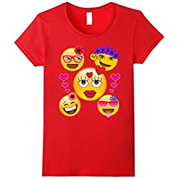 Women's Valentine's Day Cool Emoji T-Shirt for Girls and Women Small Red