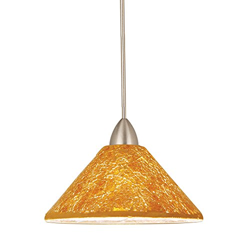 Low Voltage Monopoint Canopy Socket (WAC Lighting MP-559-GL/BN Micha 1-Light 12V MonoPoint Pendant with Gold Art Glass Shade with Brushed Nickel Finish)