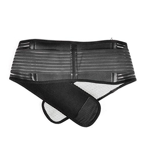 Self-Heating Magnetic Therapy Back Waist,Portable Adjustable Elastic Infrared Support Lumbar Brace Belt Double Pull Strap Lower Pain Massager (Black),S