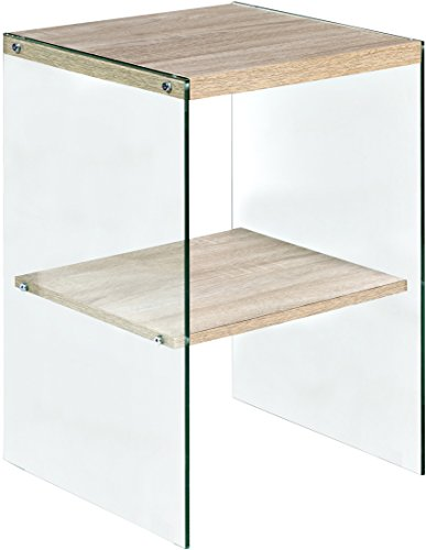 Escher Skye Accent End Table, Glass and Wood, Light Oak ()