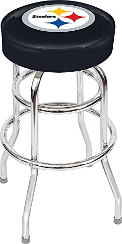 Chrome Seat Ring Bar Stool (Imperial Officially Licensed NFL Furniture: Swivel Seat Bar Stool, Pittsburgh Steelers)