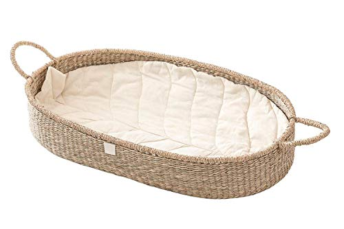 Baby Changing Basket with Luxury & Unique Soft Linen Diaper Changing Pad. Handwoven Seagrass Baby Basket. Stylish Alternative to The Ordinary Changing Table. by BEBE BASK