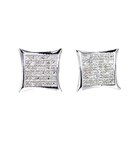 Diamond Earrings for Men Kite Shaped Pave Style Fashion Earrings Screw Back 11mm White Gold-Tone Silver
